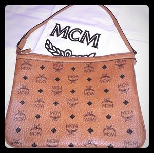 MCM  Brown/Tan Small Zip Bag with Duster